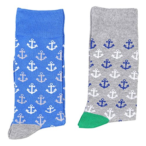Fine Fit Mens Novelty Print Socks 2 Pair Set, Anchors 10-13