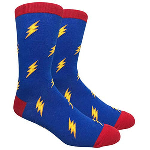 Novelty Fun Crew Print Socks for Dress or Casual (Lightning Bolts #89)