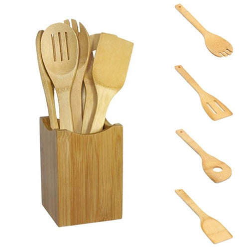 Bamboo Cooking Utensils (6-Pack) - Eco Basics Online