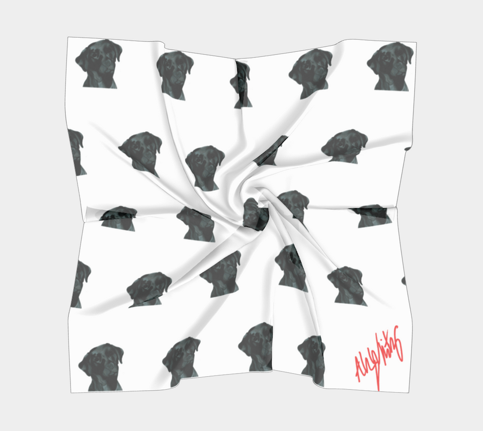Black Lab Dog Square Scarf