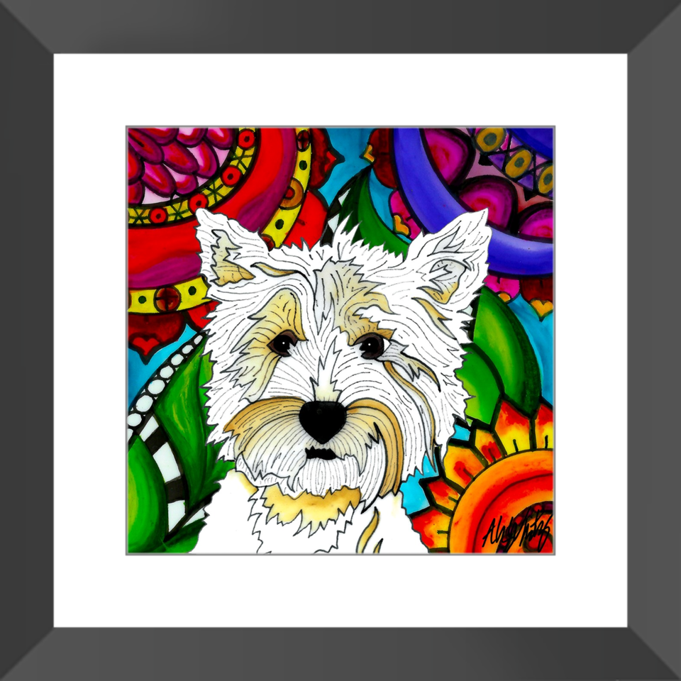 "Highland Terrier Dog 12"" Framed Print - BL"