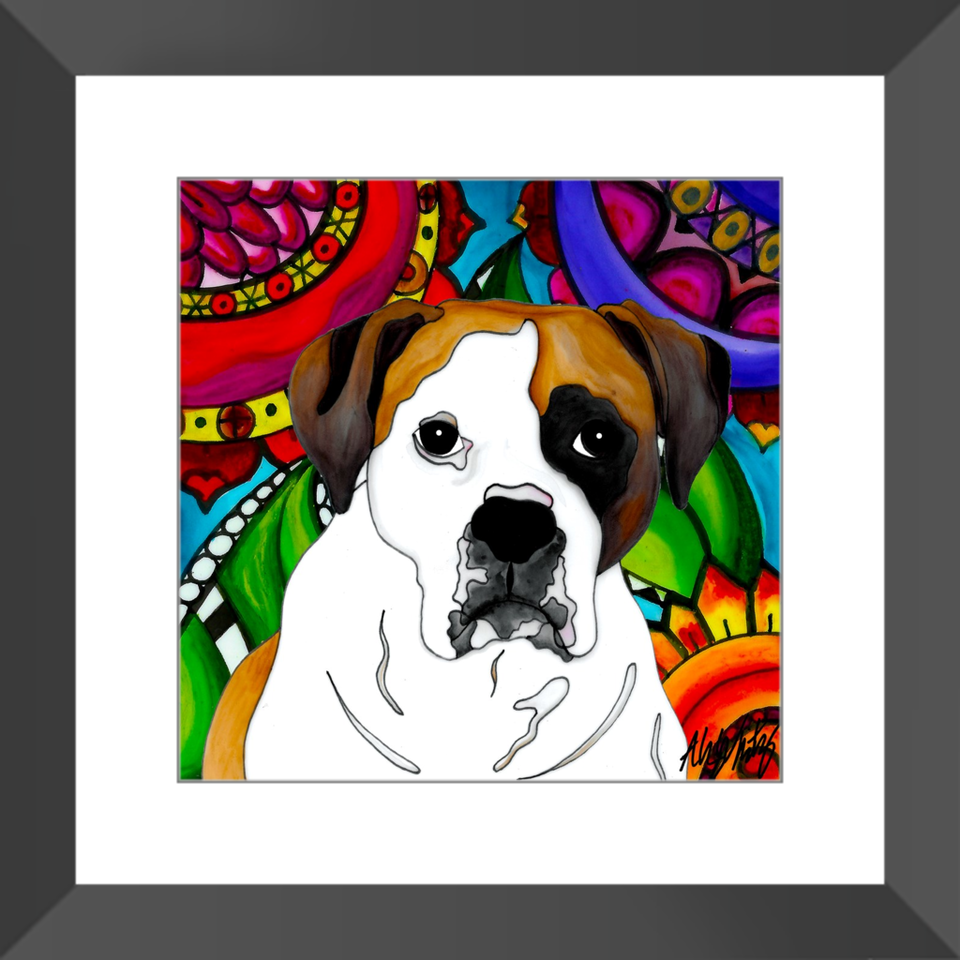 "Boxer Dog 12"" Framed Print - 2 - BL"