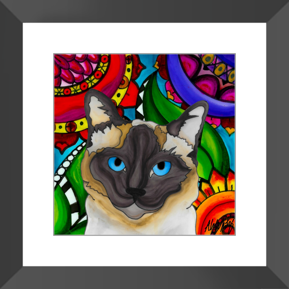 "Siamese Cat 12"" Framed Print - BL"