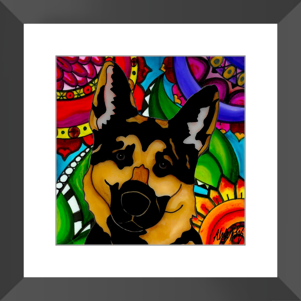 "German Shepherd Dog 12"" Framed Print - BL"