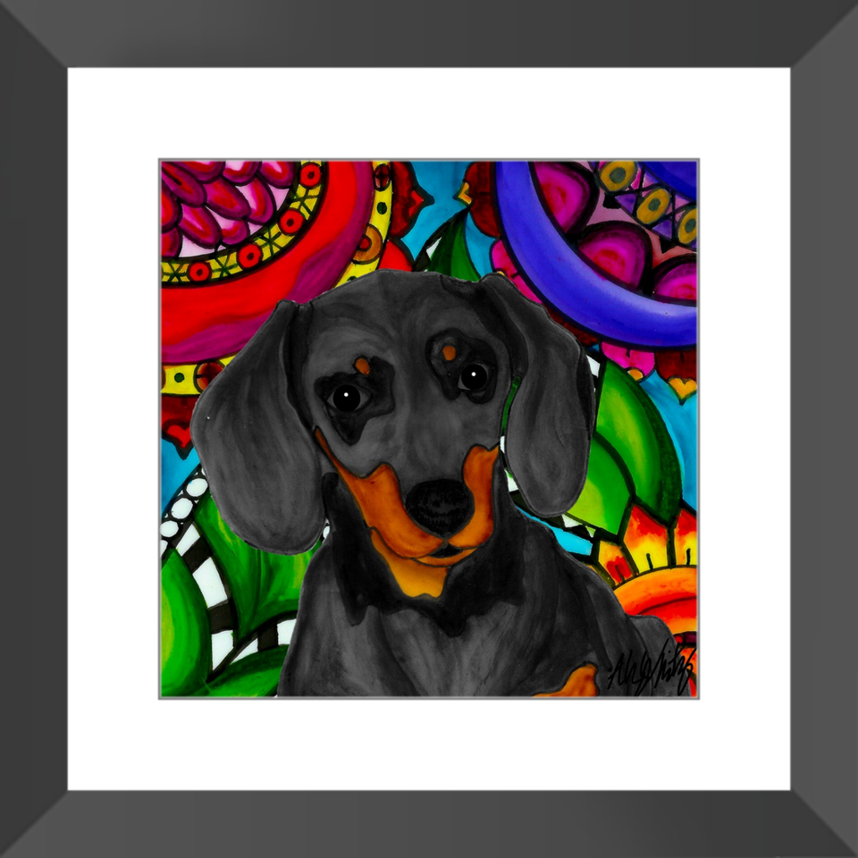 "Dachshund Dog 12"" Framed Print - BL"