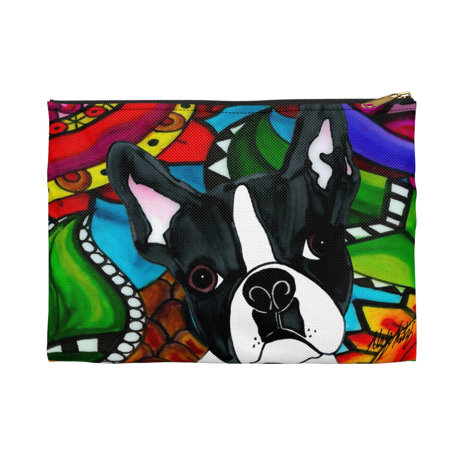Boston Terrier Dog Zipper Pouch- BL