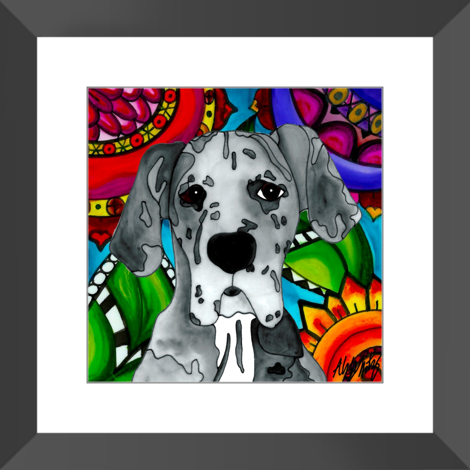 "Great Dane Dog 12"" Framed Print - BL"