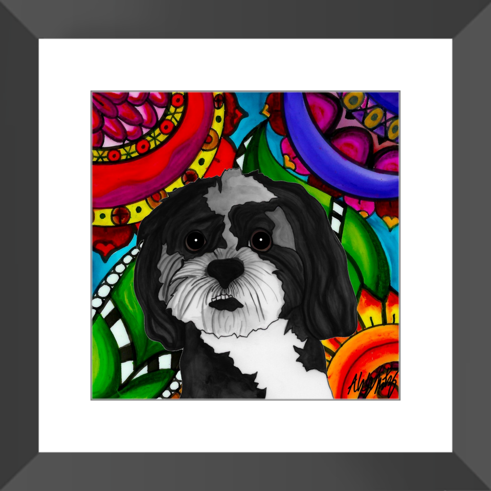 "Mutt Dog 12"" Framed Print - 4 - BL"