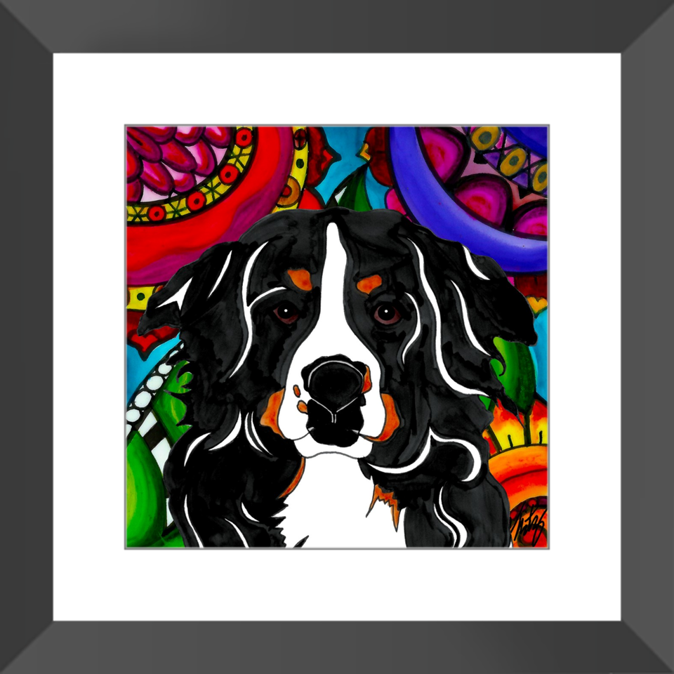 "Bernese Mountain Dog 12"" Framed Print - BL"