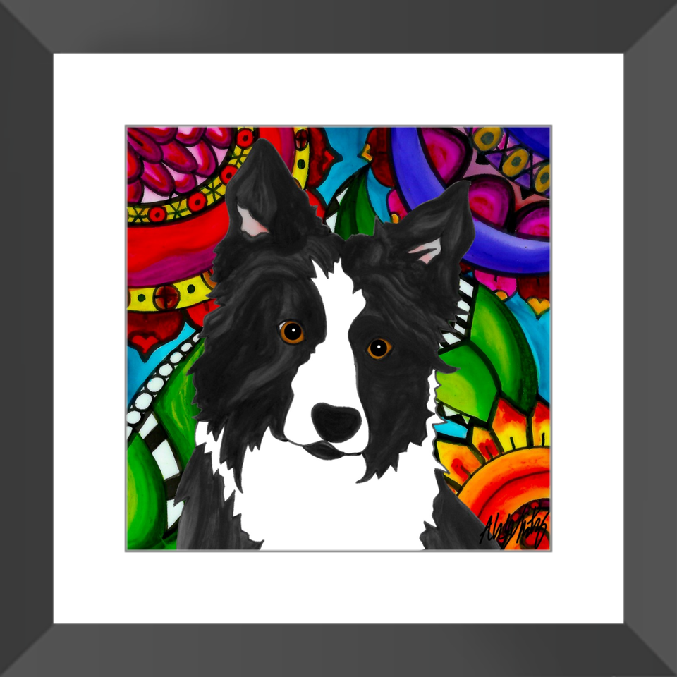 "Border Collie Dog 12"" Framed Print - BL"