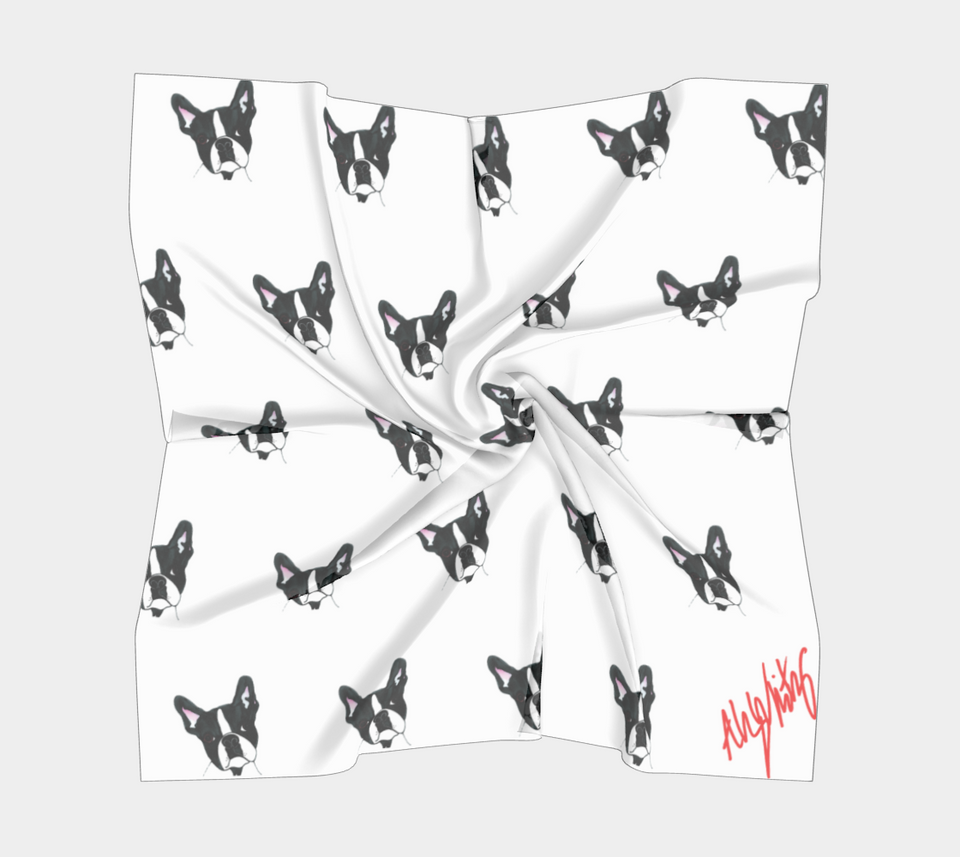 Boston Terrier Square Scarf