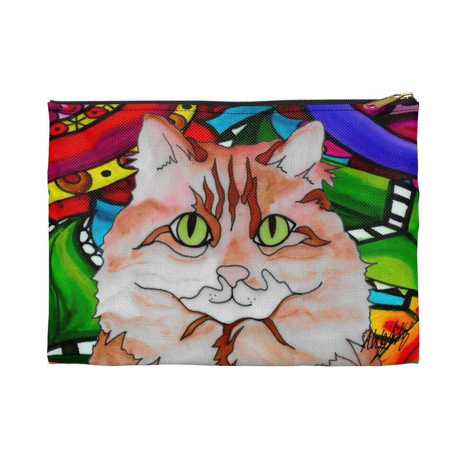 It's a Beautiful Orange & White Cat Life Zipper Pouch