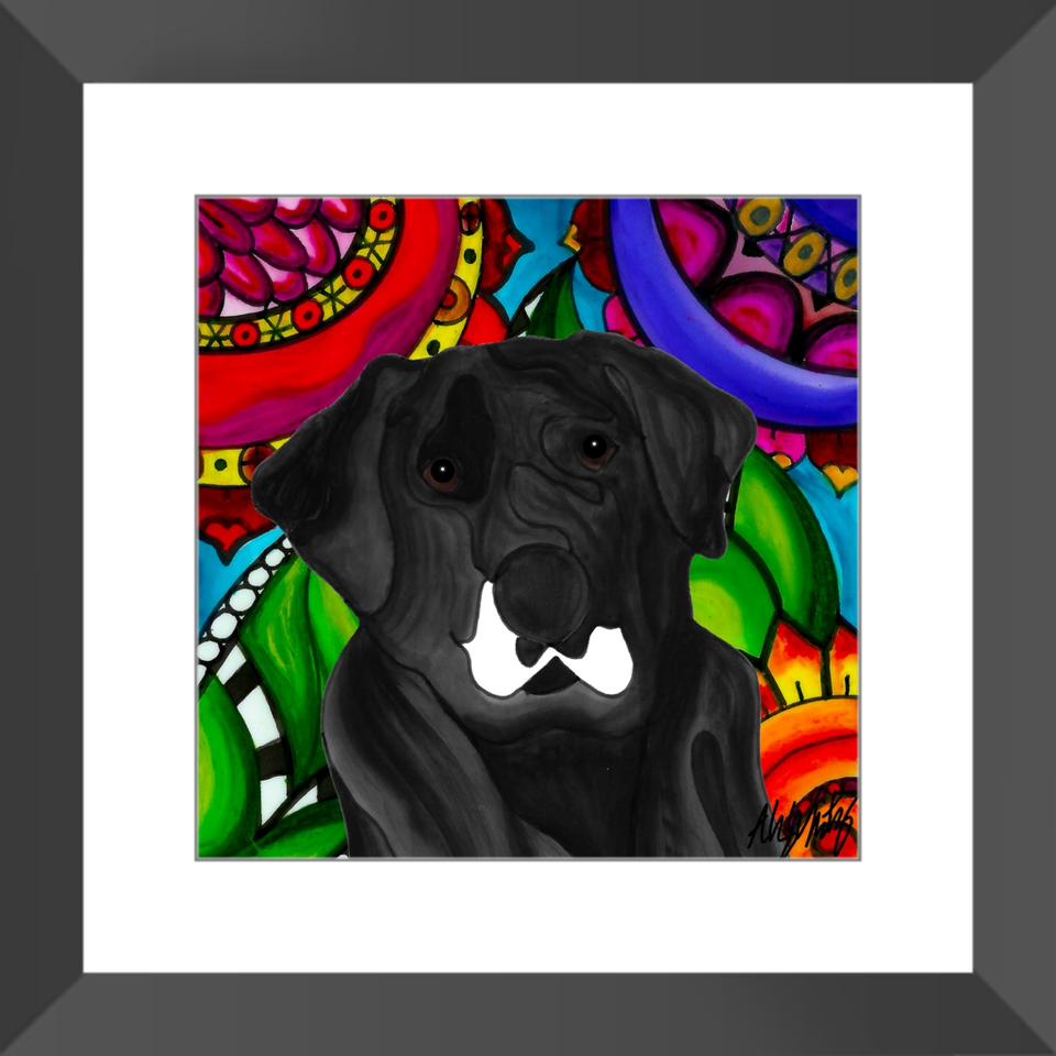 "Mutt Dog 12"" Framed Print - 5 - BL"
