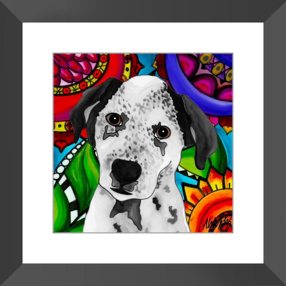 "Blue Heeler Dog 12"" Framed Print - BL"