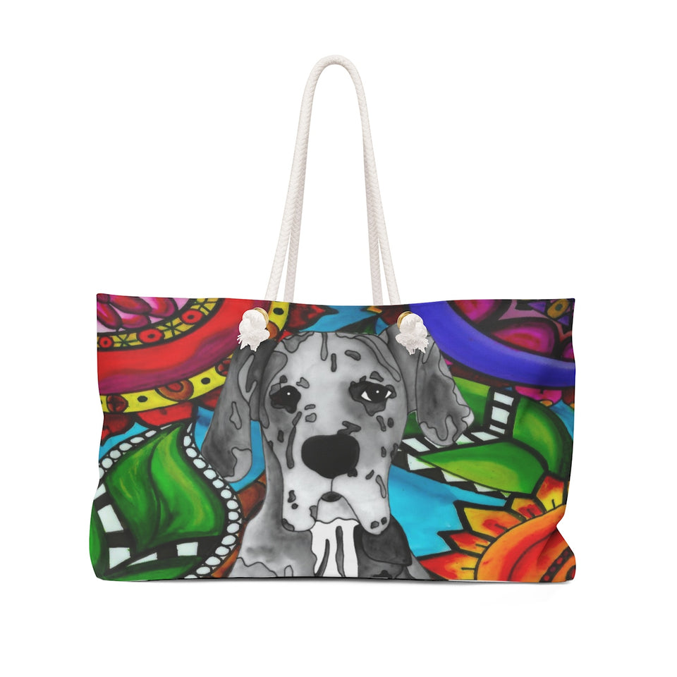 Great Dane Dog Weekender Tote- BL