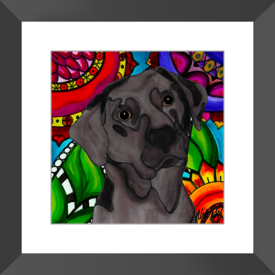 "Chocolate Lab Dog 12"" Framed Print - BL"