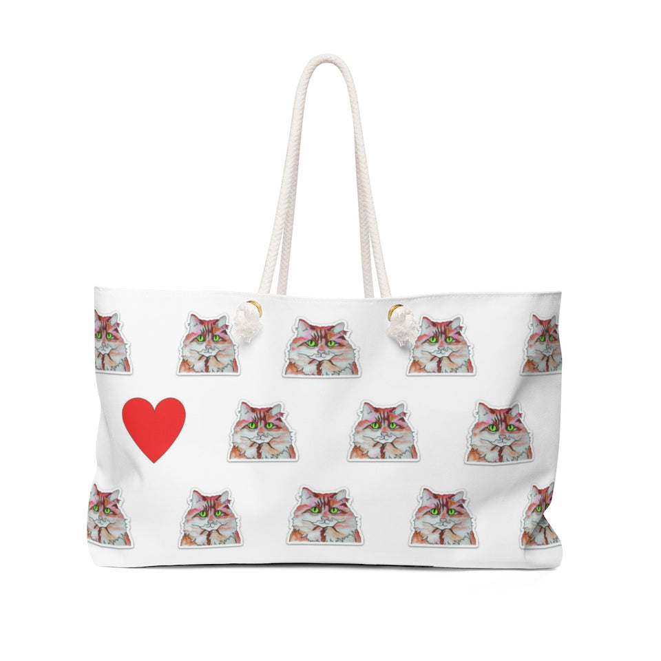 Orange & White Cat Weekender Tote - SMH