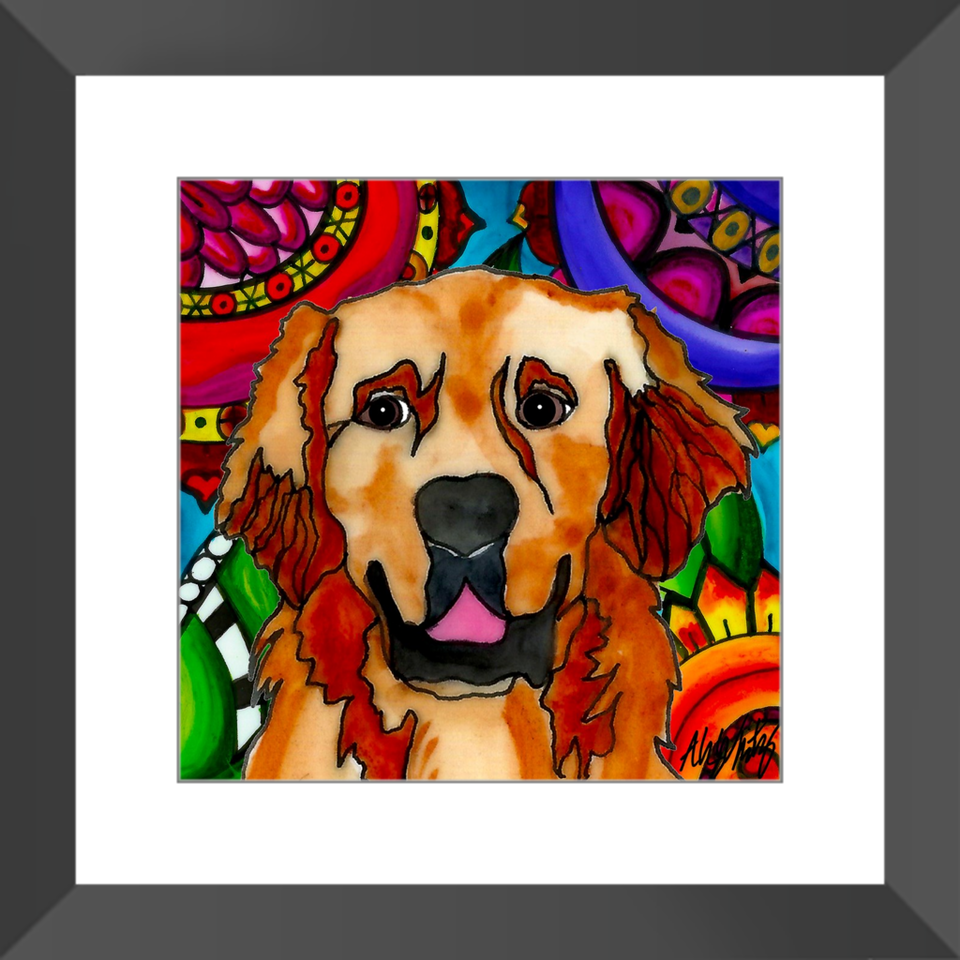 "Golden Retriever Dog 12"" Framed Print - BL"