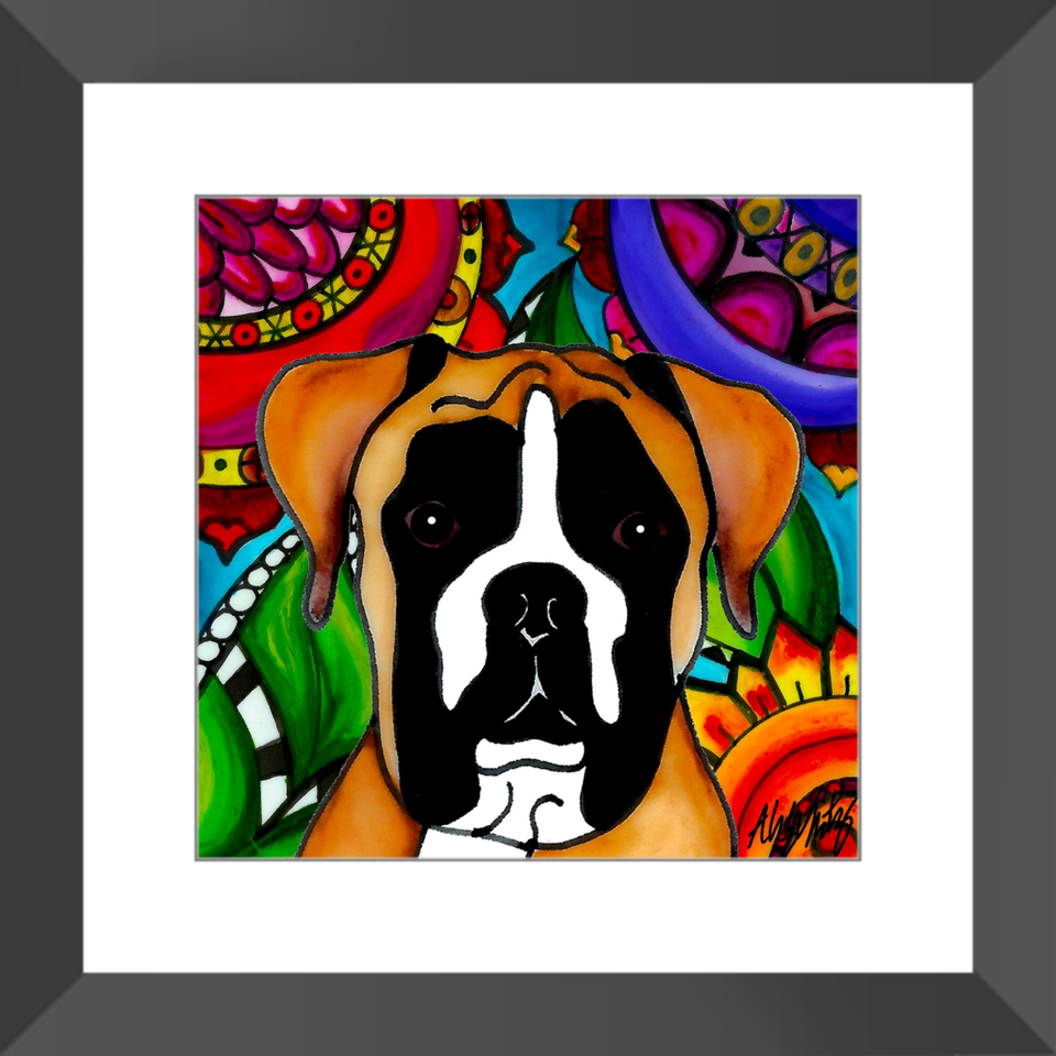 "Boxer Dog 12"" Framed Print - 1 - BL"