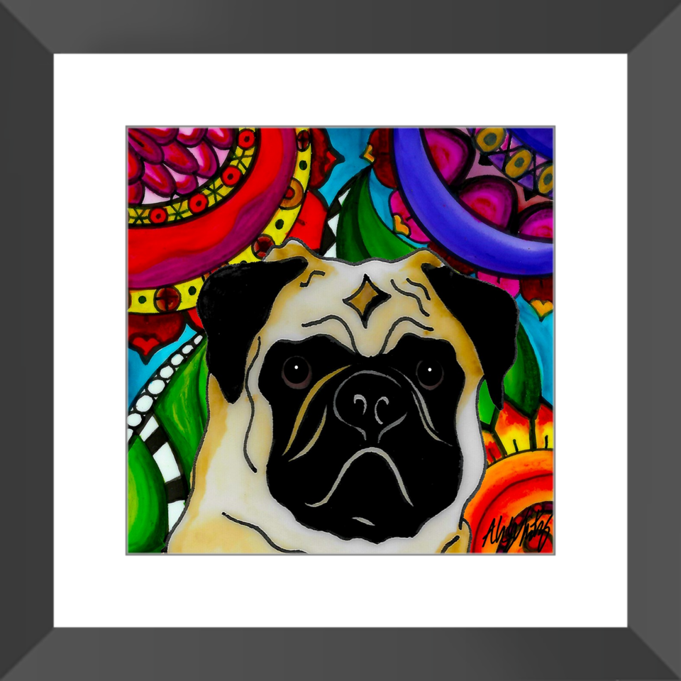 "Pug Dog 12"" Framed Print - BL"