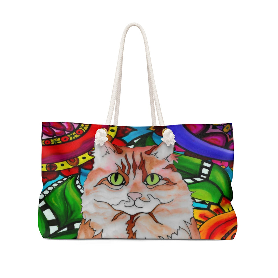 Orange & White Cat Weekender Tote - BL
