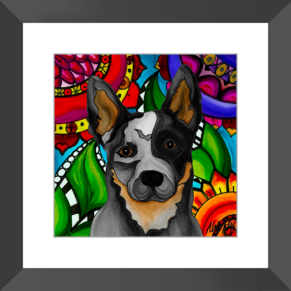 "Heeler Dog 12"" Framed Print - BL"