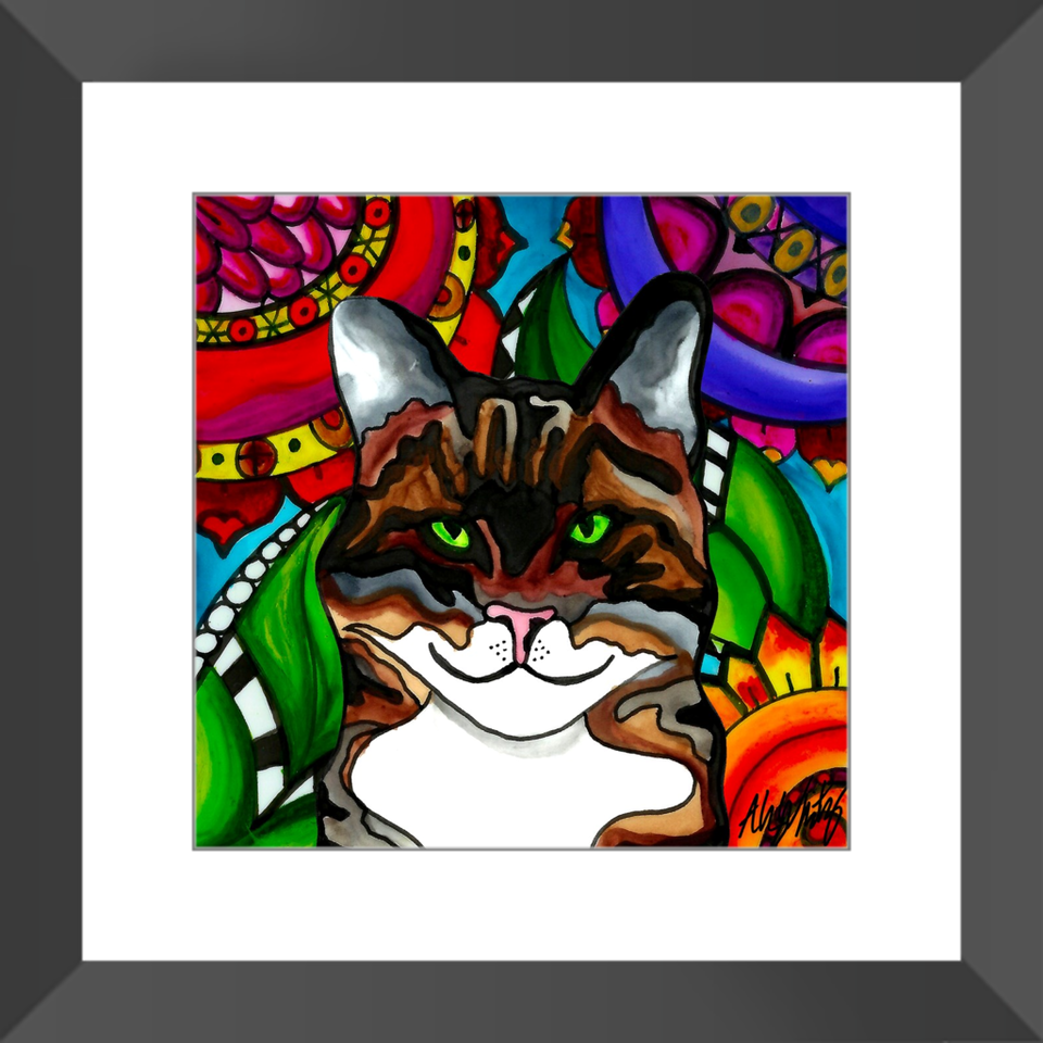 "Tabby Cat 12"" Framed Print - BL"