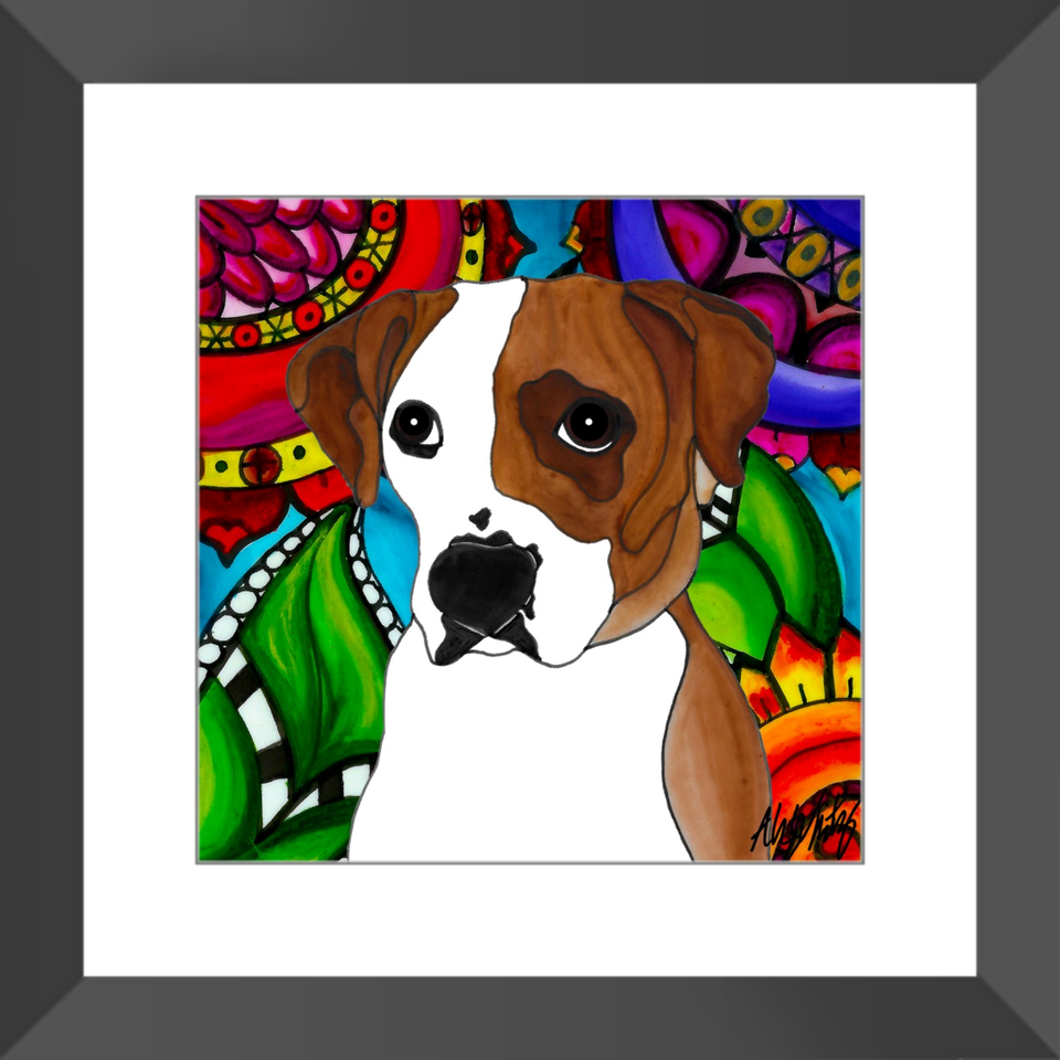 "Boxer Dog 12"" Framed Print - 3 - BL"
