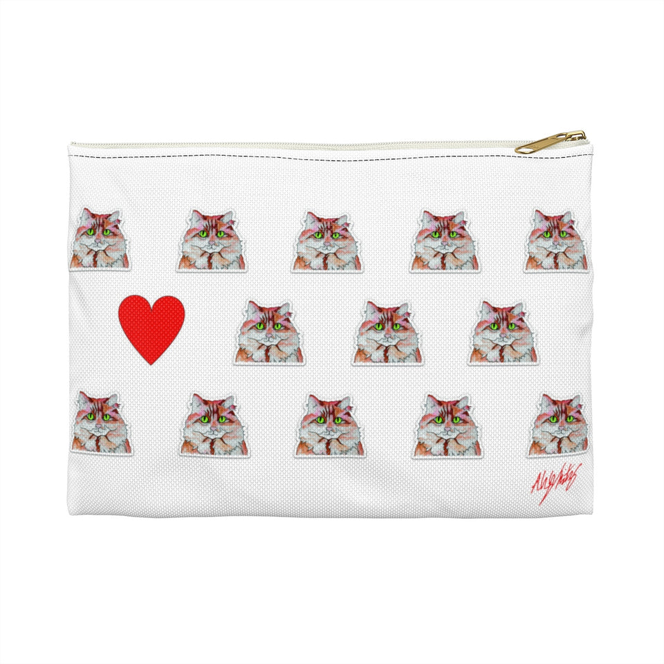 Stole My Heart Orange & White Cat Zipper Pouch