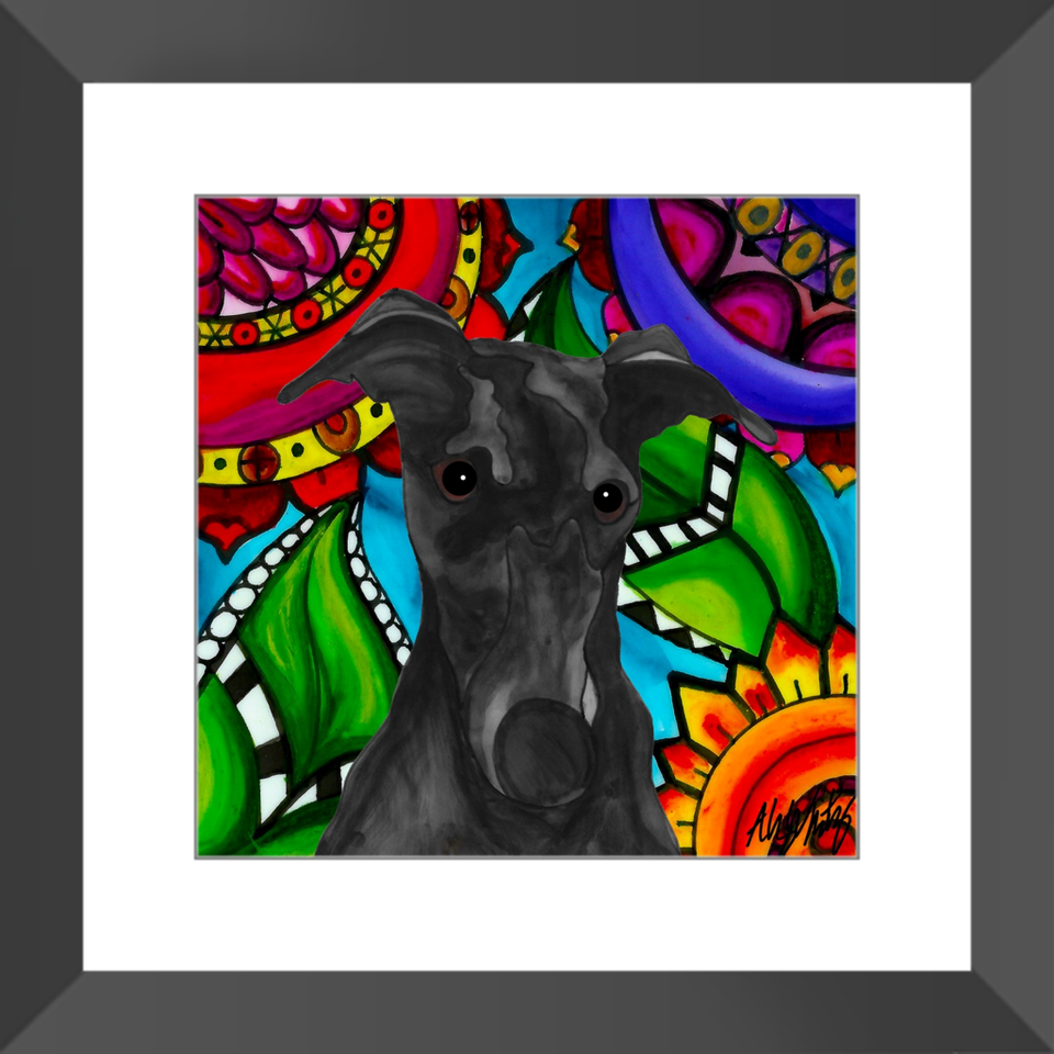 "Greyhound Dog 12"" Framed Print - BL"