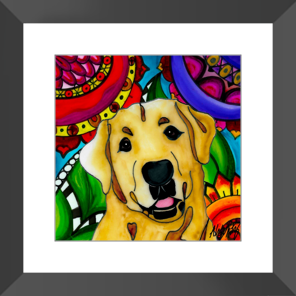 "Yellow Lab Dog 12"" Framed Print - BL"