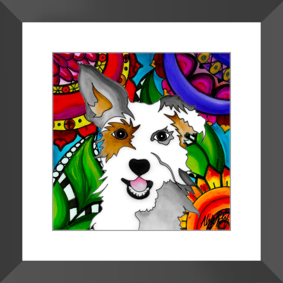 "Mutt Dog 12"" Framed Print - 1 - BL"