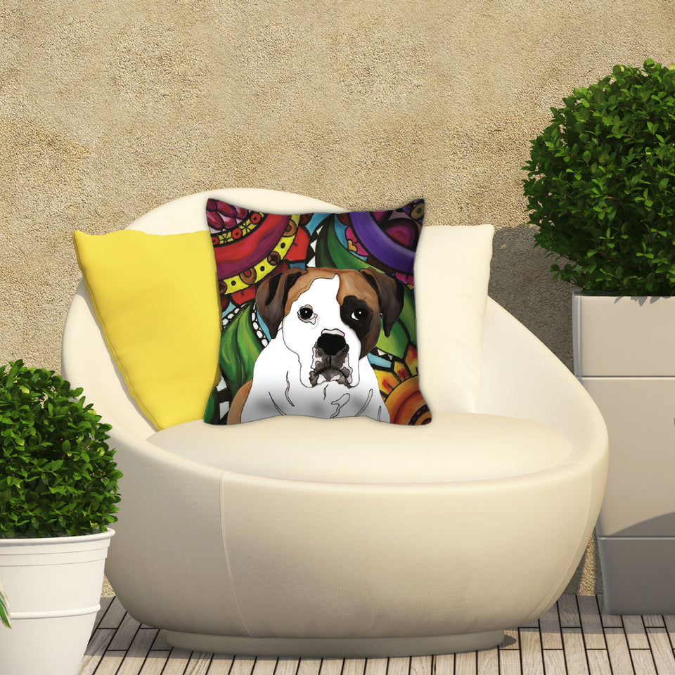 Boxer 2 Dog Outdoor Pillow - BL