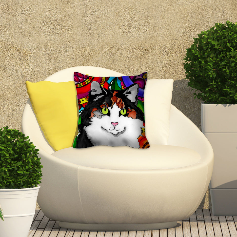 Calico Cat Outdoor Pillow - BL