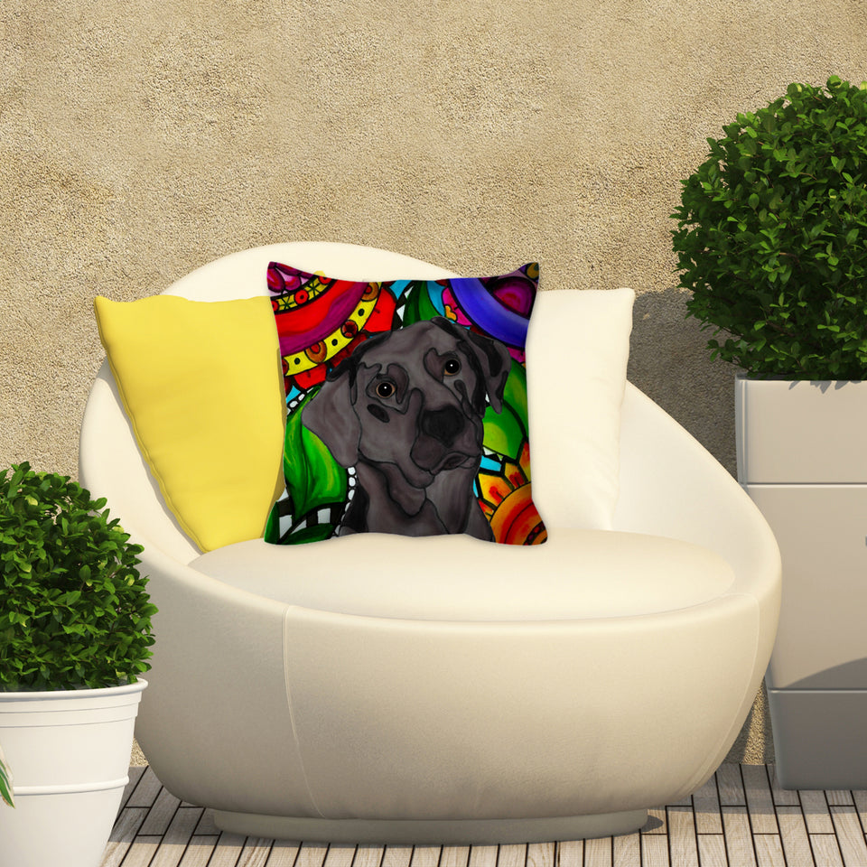 Chocolate Lab Dog Outdoor Pillow - BL