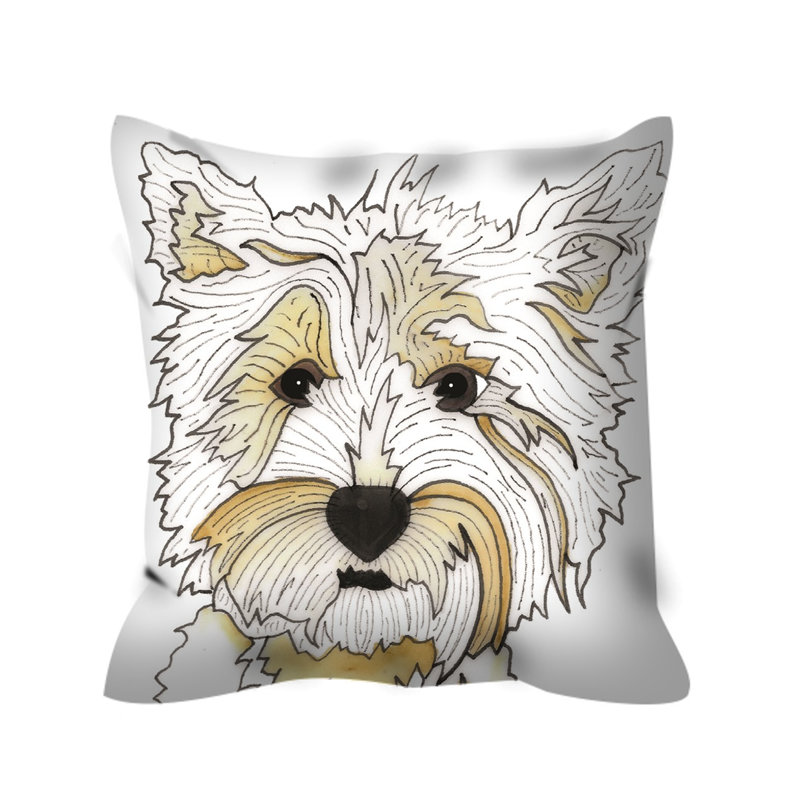 Stole My Heart Highland Terrier Outdoor Pillow