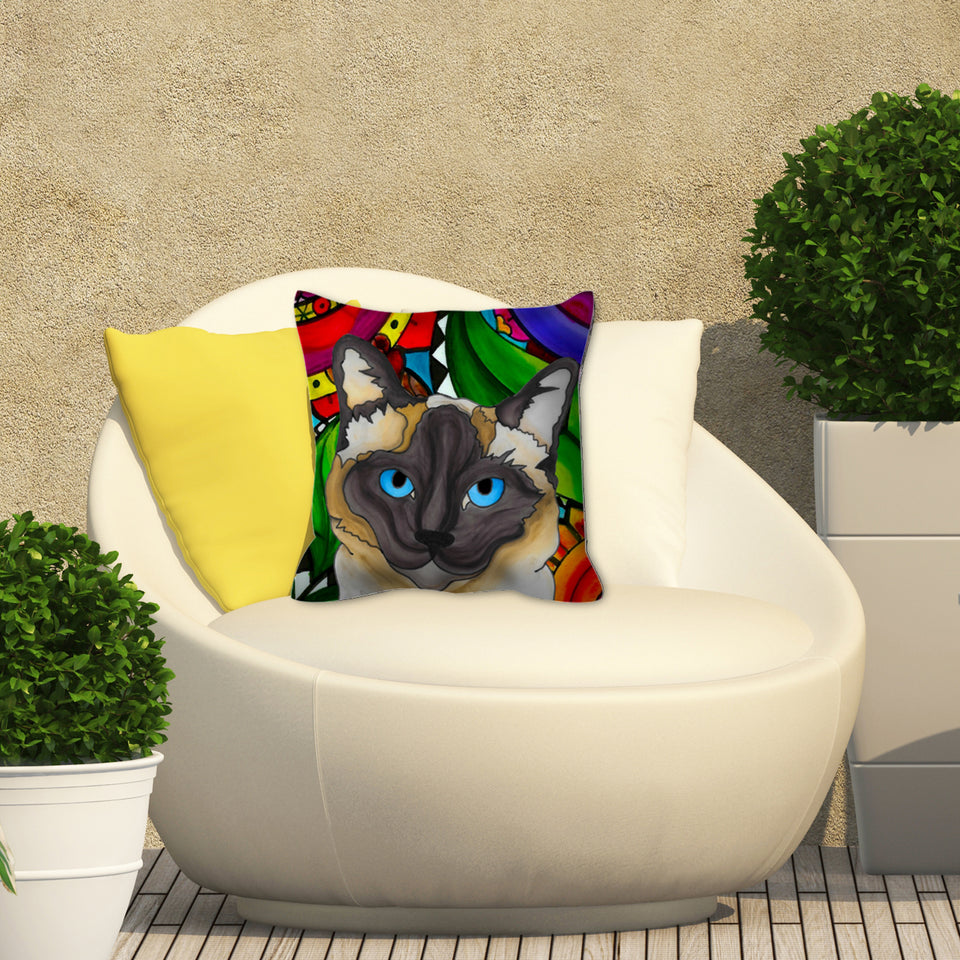 Siamese Life Outdoor Pillow - BL