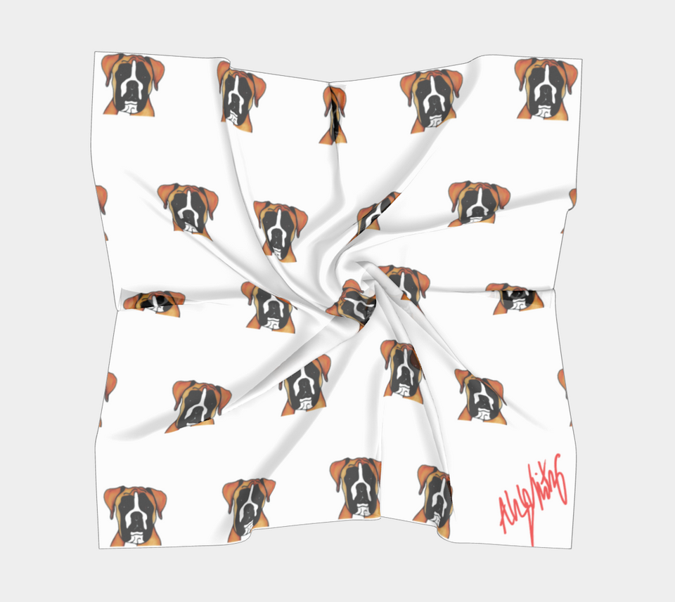 Boxer Dog Square Scarf - 1