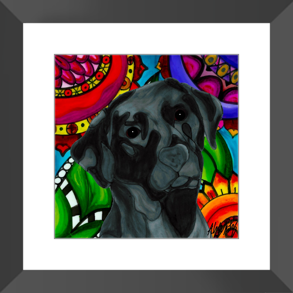 "Black Lab Dog 12"" Framed Print - BL"