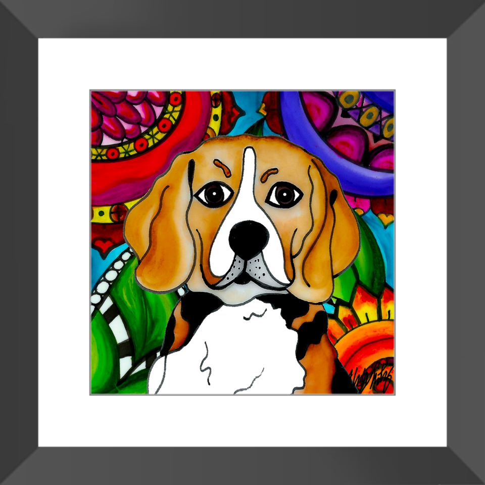 "Beagle Dog 12"" Framed Print - BL"