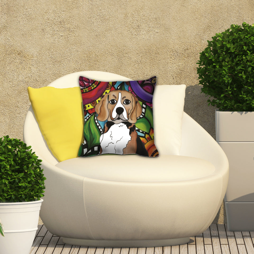 It's a Beautiful Beagle Life Outdoor Pillow