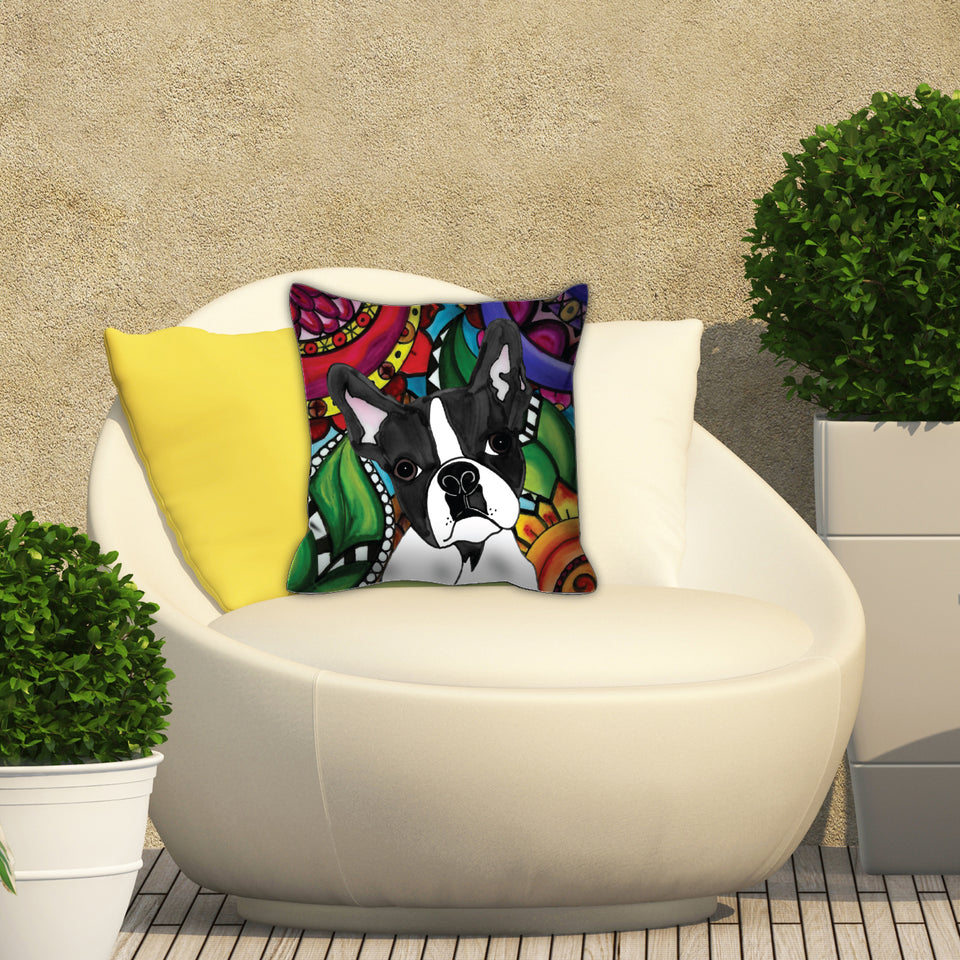 It's a Beautiful Boston Terrier Life Outdoor Pillow