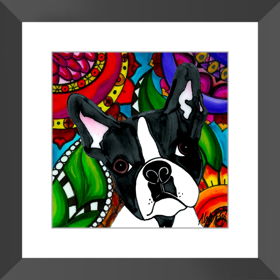"Boston Terrier Dog 12"" Framed Print - BL"