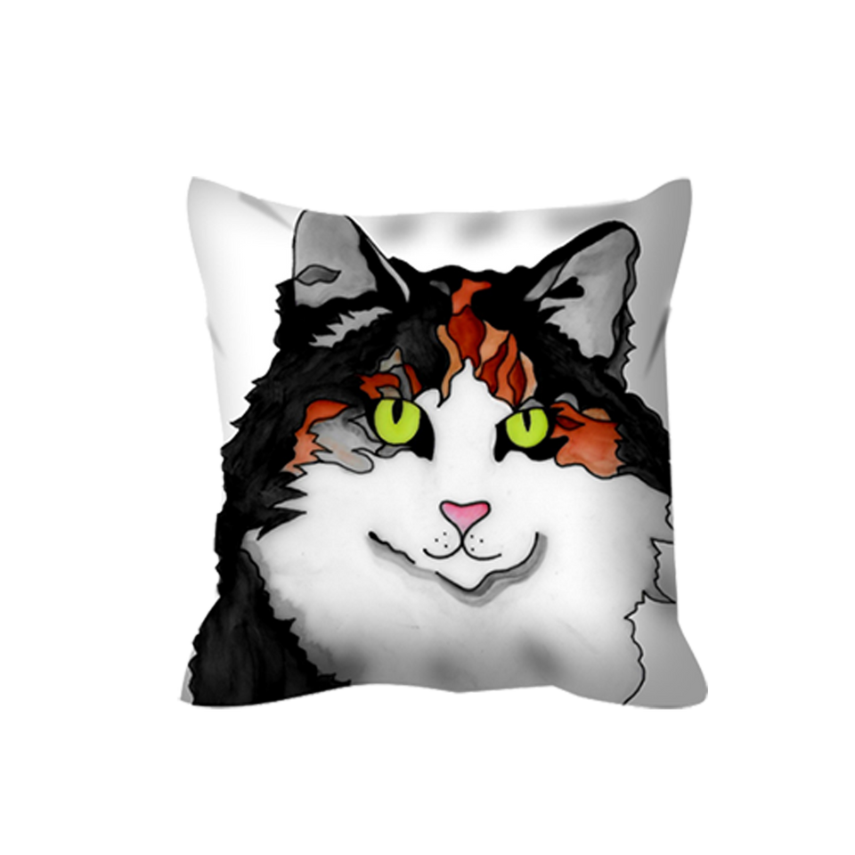 Stole My Heart Calico Outdoor Pillow