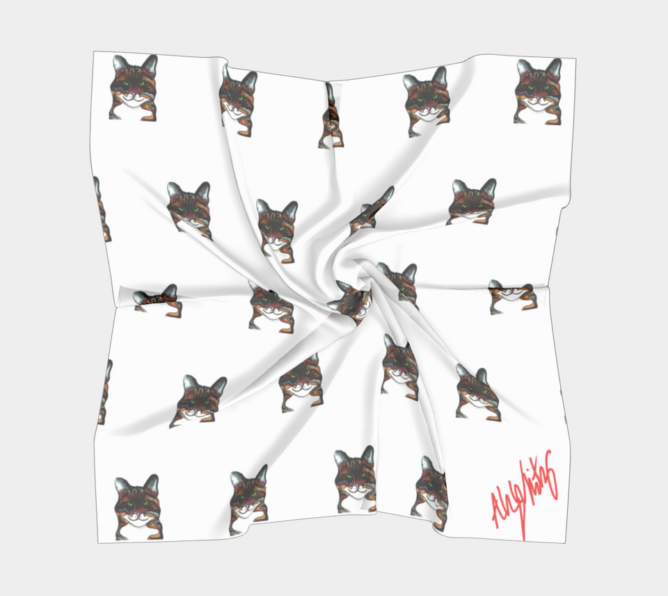 Tabby Cat Square Scarf