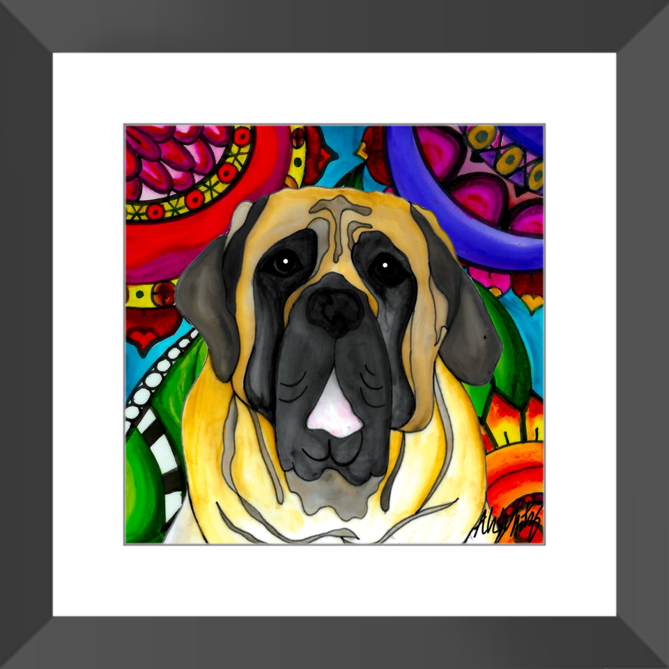 "English Mastiff Dog 12"" Framed Print - BL"