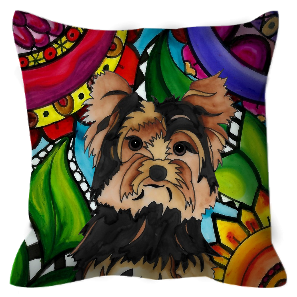 Yorkie Dog Outdoor Pillow _ BL