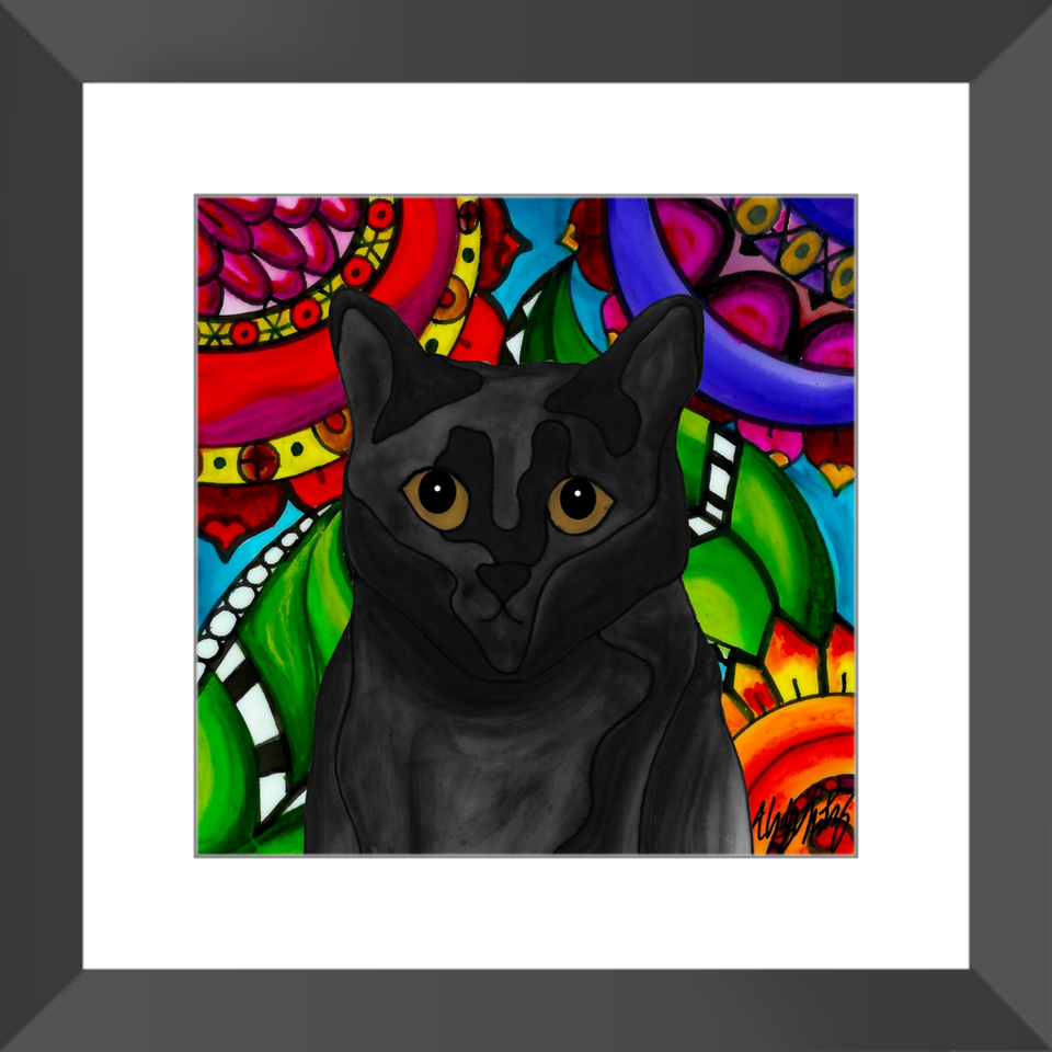 "Black Cat 12"" Framed Print - BL"