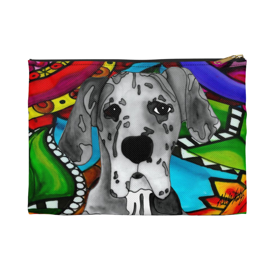 Great Dane Dog Zipper Pouch- BL
