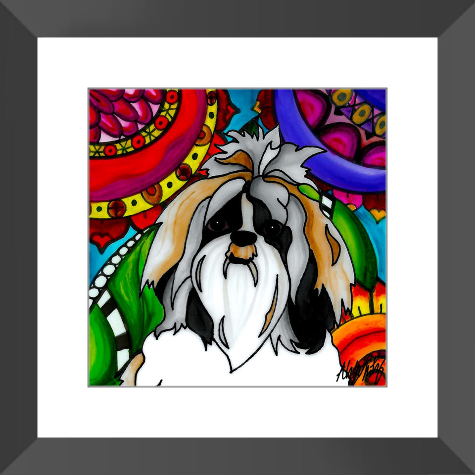 "Shih Tzu Dog 12"" Framed Print - BL"